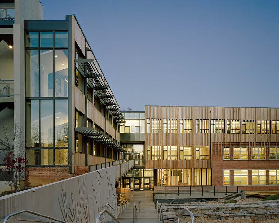 Middle School in Washington DC uses cedar siding