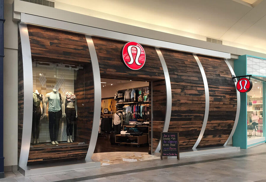 Rustic reclaimed oak creates authentic Lululemon storefront