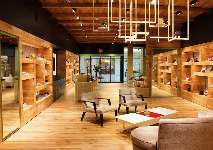 Reclaimed oak flooring used throughout Sam Edelman's retail store in Palm Beach, FL