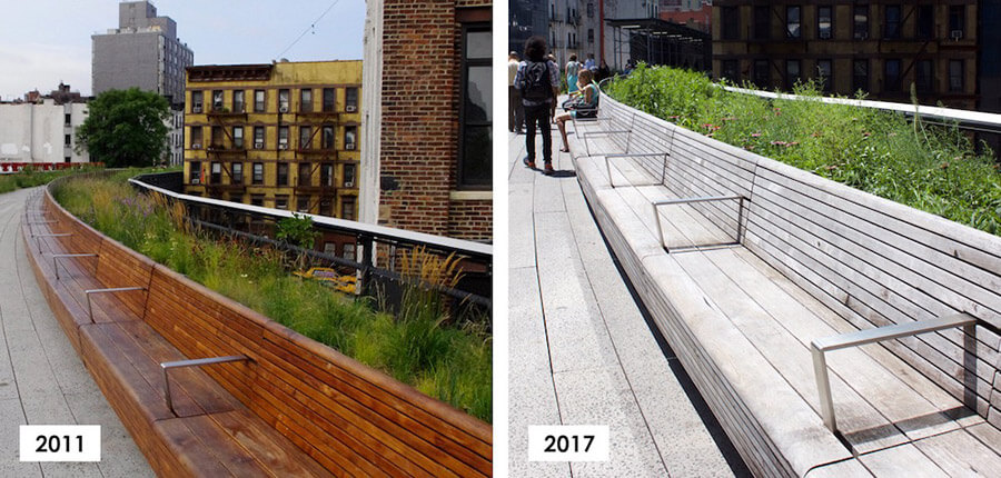 Example of reclaimed teak greying, before and after at The High Line in NYC