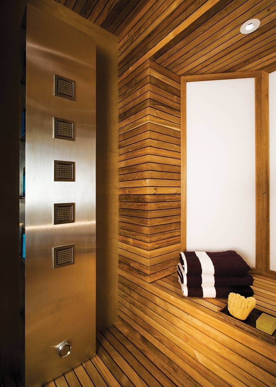 Reclaimed teak flooring and cladding used throughout Kohler Country Spa in Wisconsin