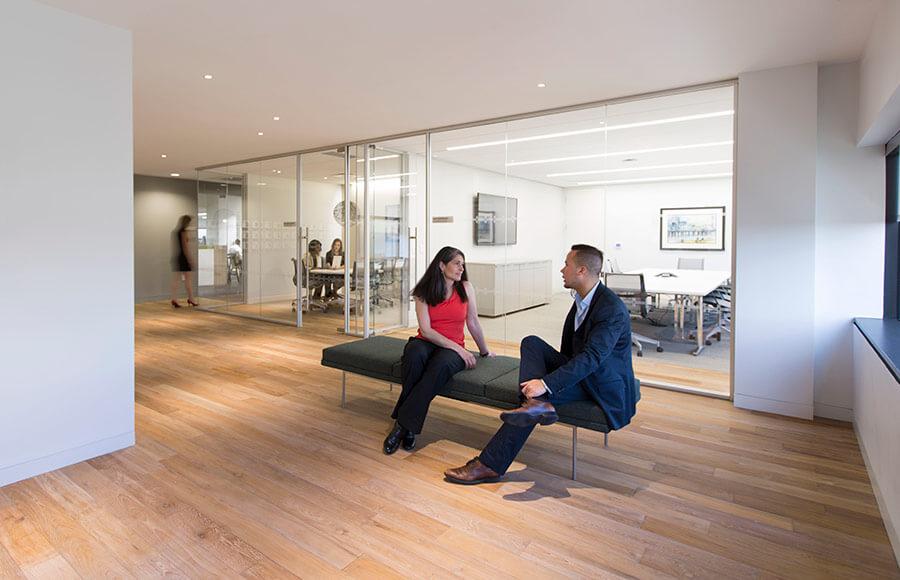 TerraMai Reclaimed Teak flooring with Kukui finish at CBRE office