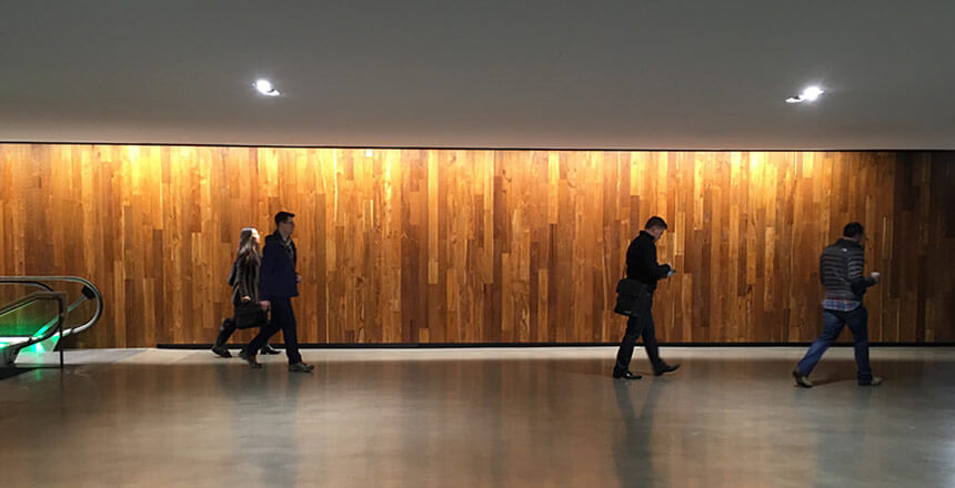 Reclaimed Teak paneling at Amazon's Seattle HQ