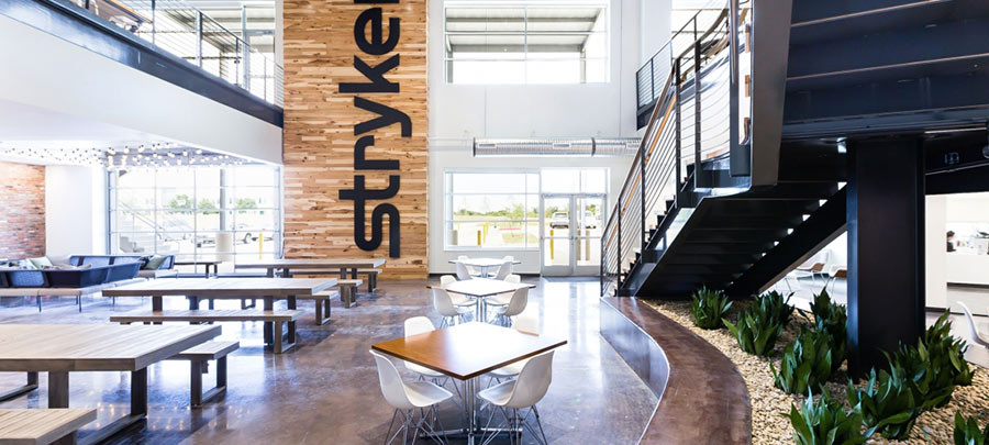 Stryker's biophilic office in Texas received WELL Silver Certification