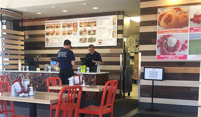 Burgerville in Corvallis, Oregon uses reclaimed redwood paneling