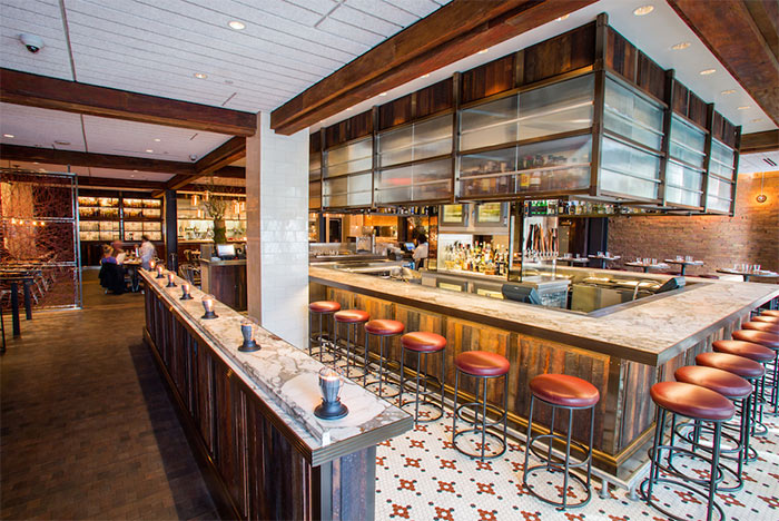 TerraMai's reclaimed wood paneling & flooring is used througout CBD Provisions Restaurant