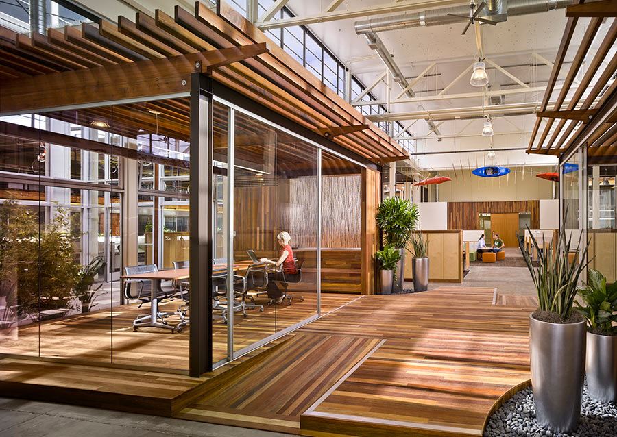 Clif Bar's HQ uses Terramai's stunning World Mix flooring and paneling