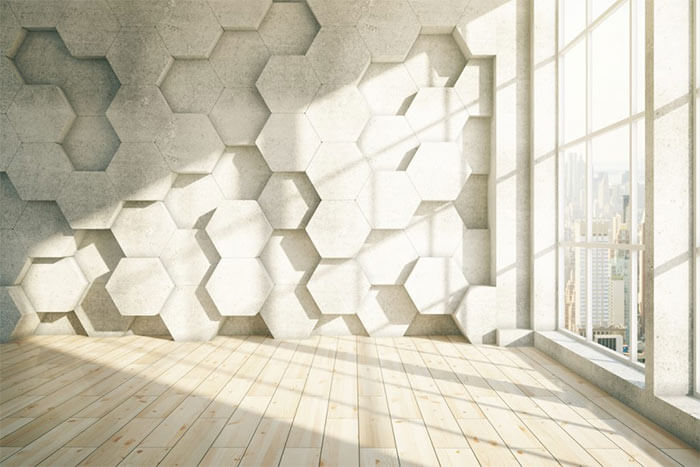 Example of biomorphic pattern: Honeycomb 3D wall