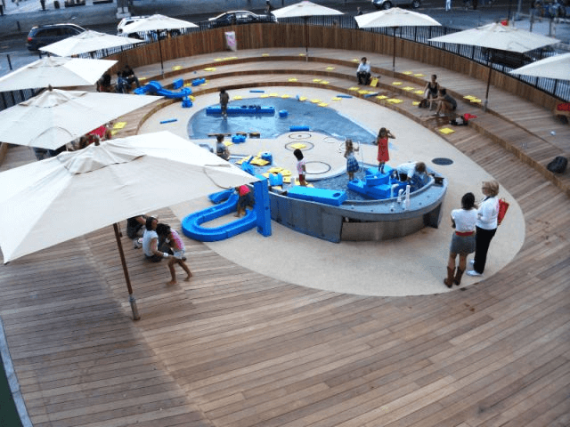 Reclaimed Teak decking at imagination Playground in New York City