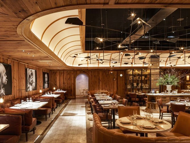 Wood paneling is used throughout Leuca restaurant
