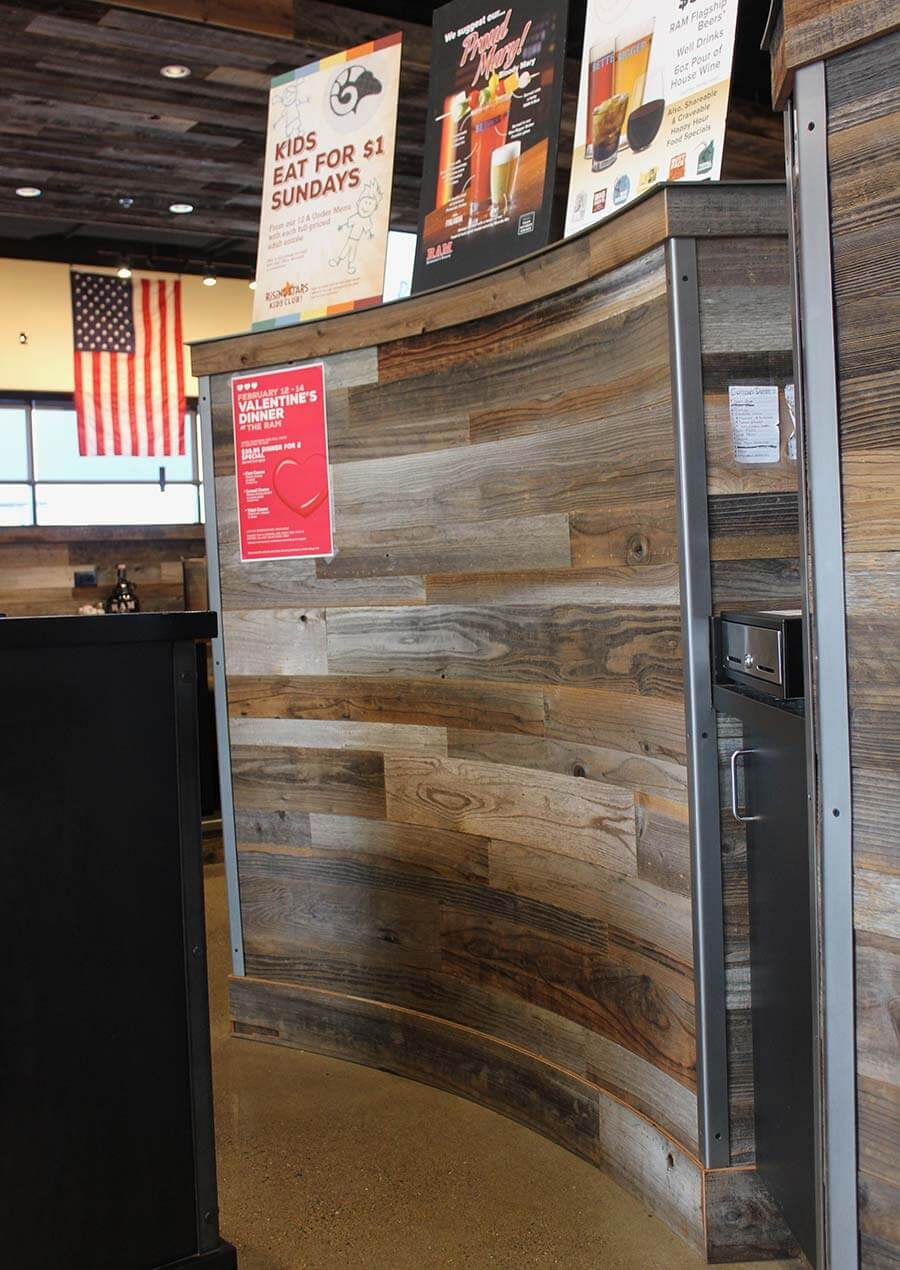 TerraMai's Lost Coast Redwood Filet paneling used on curved wall at RAM Restaurant