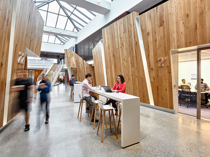 Microsoft's new office space boosts creativity with plenty of light, air, and wood.