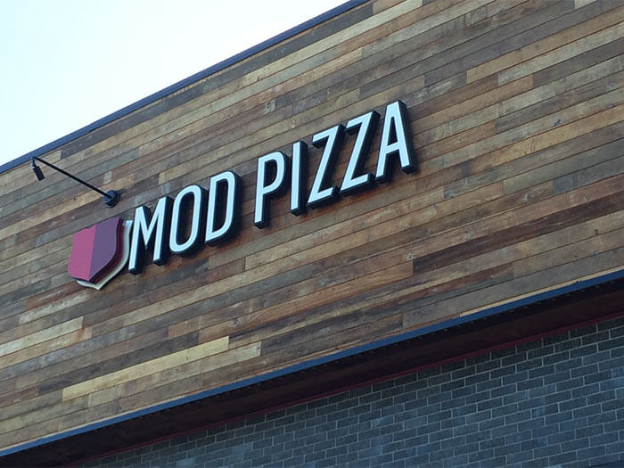 MOD Pizza used TerraMai's Naturally Distressed reclaimed Long Plank Teak