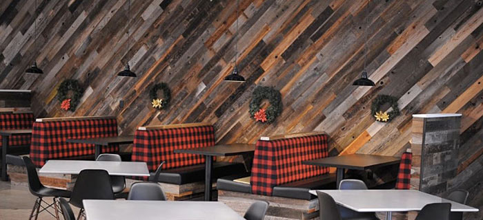 Reclaimed redwood cladding at Yakima Products cafeteria