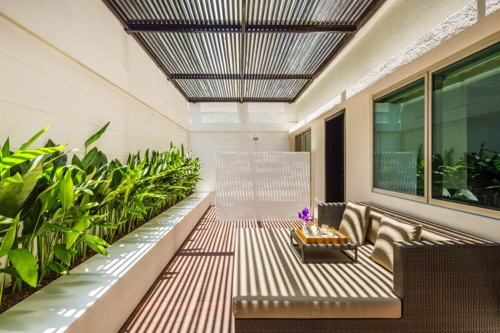 Reclaimed Teak decking at wellness center at COMO Metropolitan Bangkok