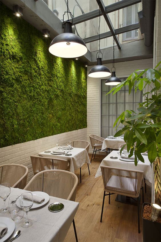 Living wall at restaurant creates relaxing atmosphere for diners