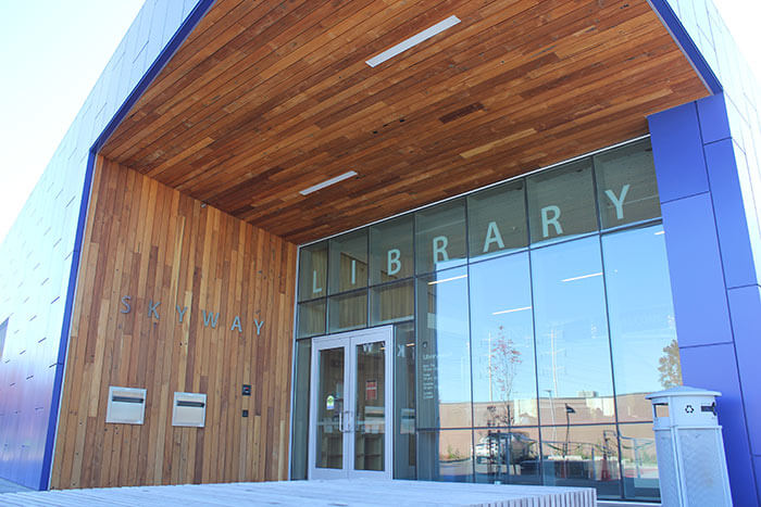 Skyway Library in Seattle used reclaimed old growth teak paneling