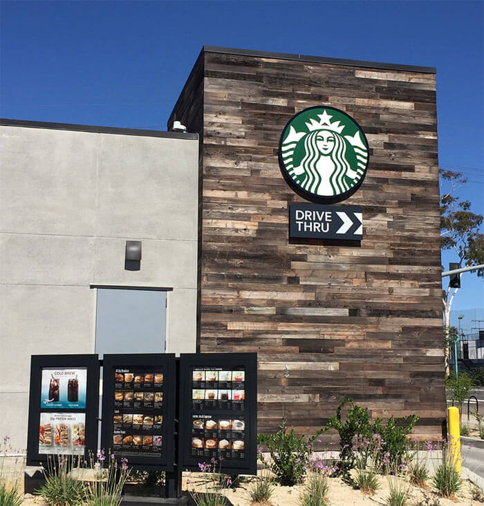 TerraMai's Reclaimed Lost Coast Redwood Siding at Starbucks drive thru