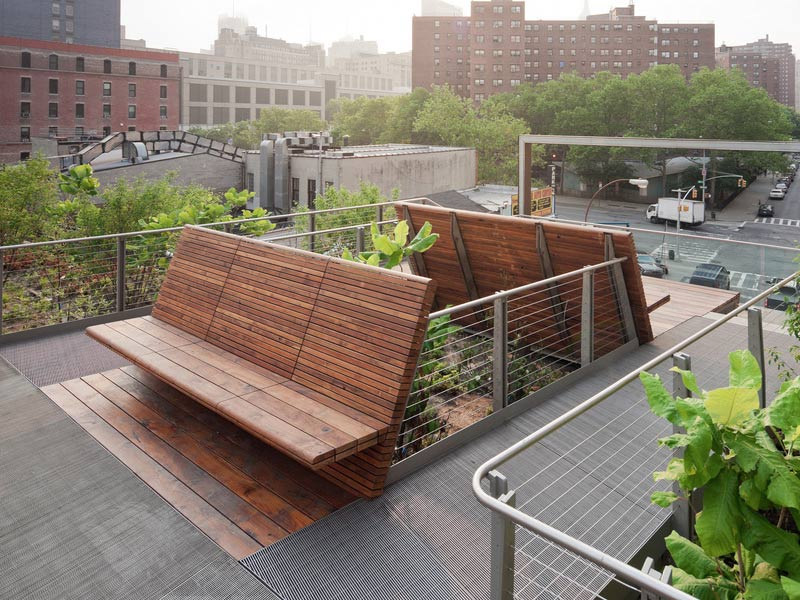 Reclaimed Teak decking and benches at The High Line in New York