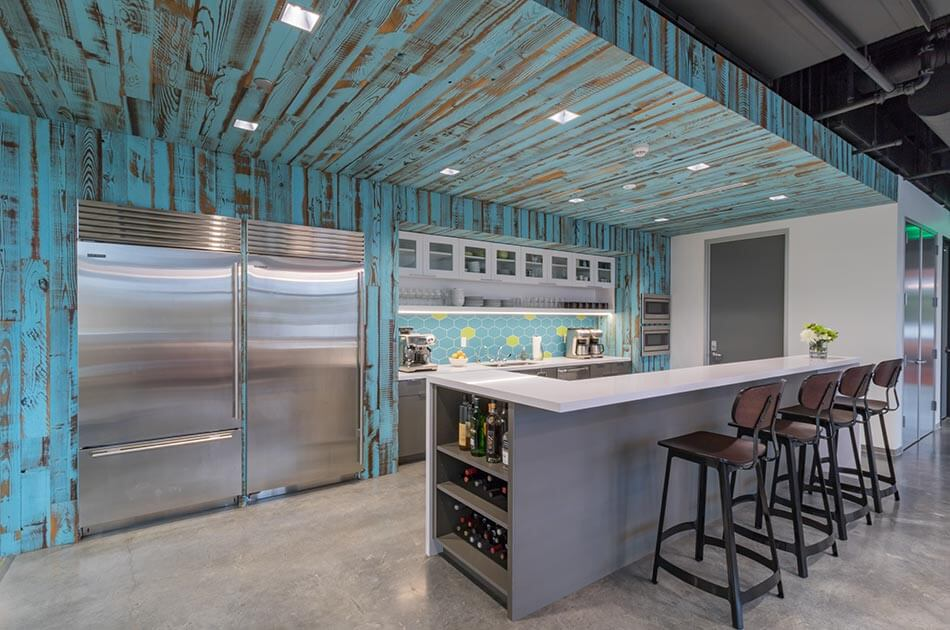 Wallaby Financial uses TerraMai's reclaimed Lost Coast redwood paneling with Slick Blue finish