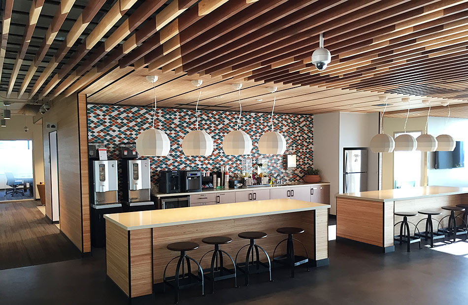 TerraMai's rePLY reclaimed paneling is used in Microsoft's gathering area