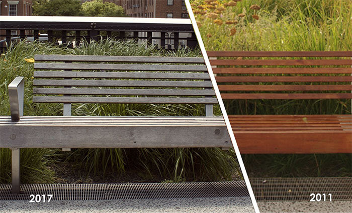 Reclaimed teak bench at NYC High Line compares weathered look from 2011 to 2017