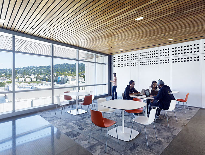 The Energy BioSciences Building at UC Berkeley features rich reclaimed teak ceilings