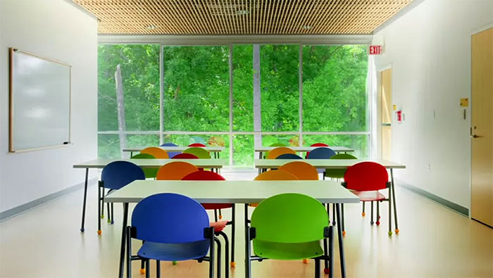 This room in Virginia's Manassas Park Elementary School is a beautiful example of a biophilic classroom