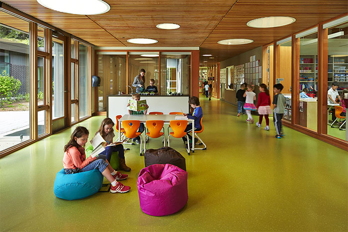 Wilkes Elementary School is resplendent with wood that fosters a biophilic atmosphere