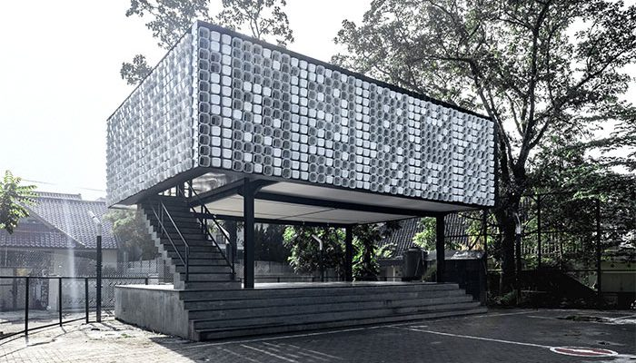 Microlibrary in Bima Indonesia is made from recycled ice cream containers