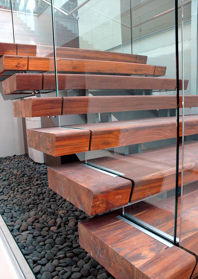 Beefy Reclaimed Wood Stair Treads Appear To Float