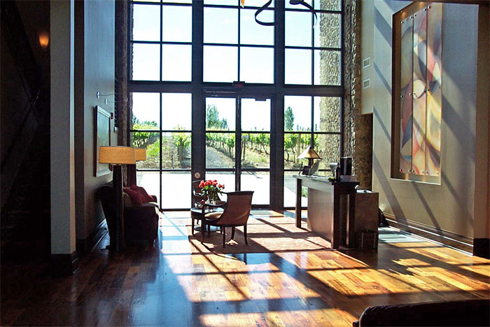 Reclaimed wood in hotel lobby provide low carbon emission material