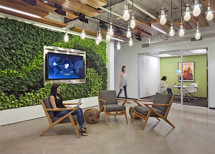 Twitter's Boston offices use biophilic design with a living wall