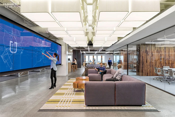 Uber's San Francisco office features an impressive touchscreen wall