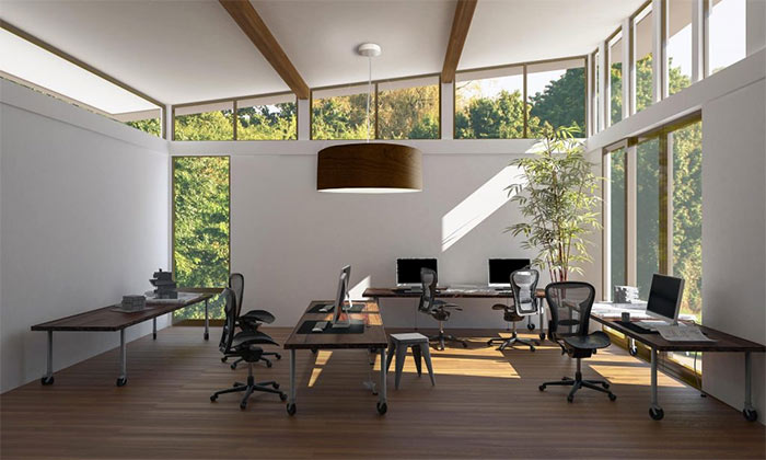 Biophilic office space combines tech with nature