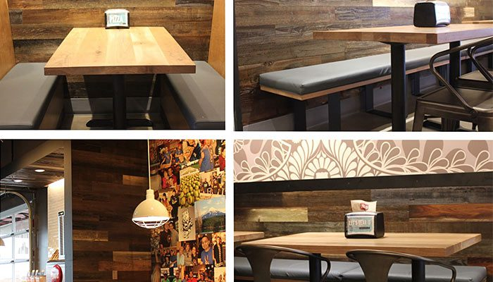 TerraMai Reclaimed Redwood paneling at Mod Pizza in Medford