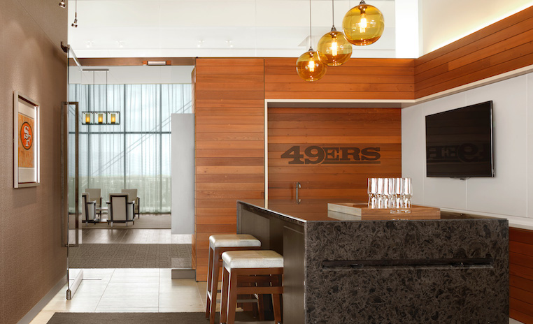 Reclaimed Redwood Paneling, Cabinets And Seating At Leviu0027s Stadium