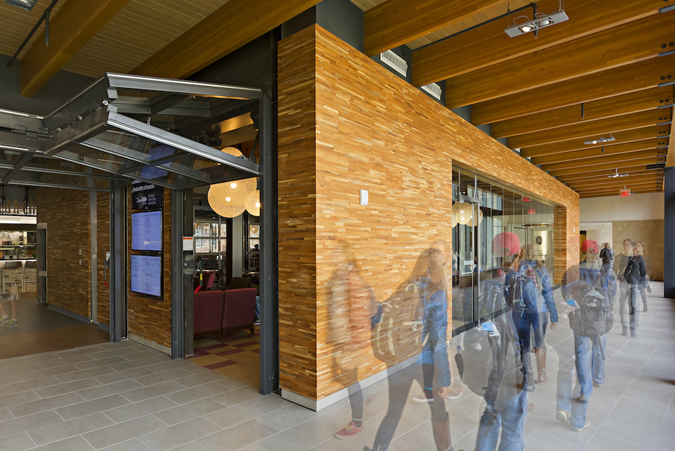 Reclaimed teak paneling at University of Michigan