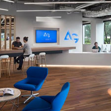 Reclaimed wood flooring inside AutoGravity's office space