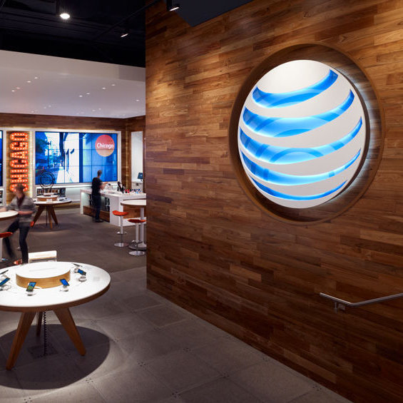 Reclaimed Teak paneling Installation in AT&T Chicago store