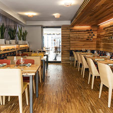Reclaimed Teak flooring inside restaurant