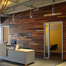 Reclaimed Wood paneling & flooring inside Amazon in Dallas, TX