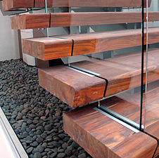 Reclaimed Teak Stair Treads in Chicago building