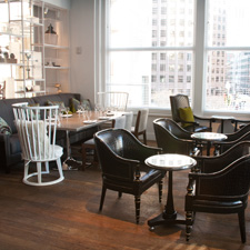 Teak flooring in Boston restaurant