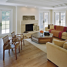 Teak flooring inside residence home