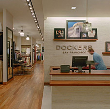 Teak Metro wood inside Dockers clothing store