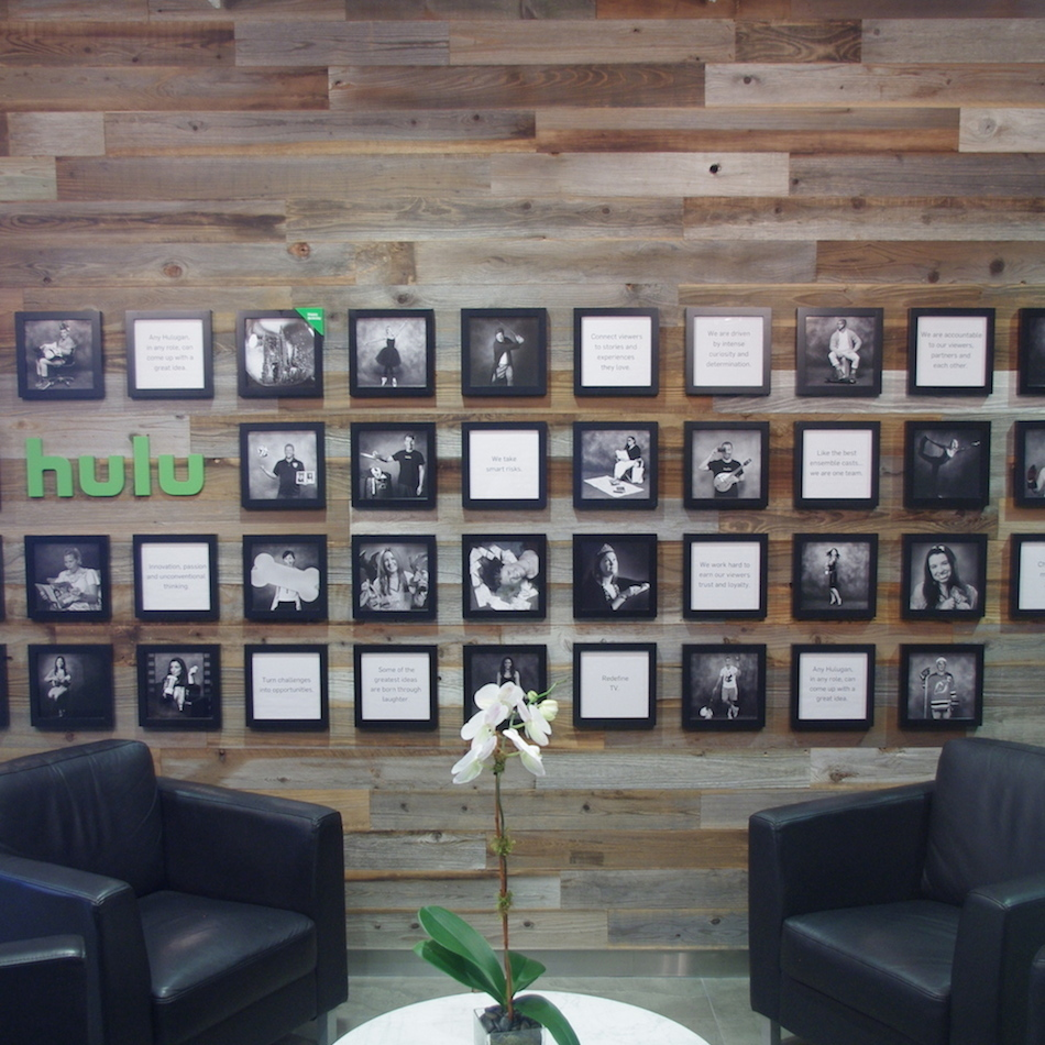 Reclaimed Redwood paneling at Hulu office in New York