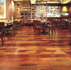 Reclaimed Tropical flooring inside Las Vegas restaurant