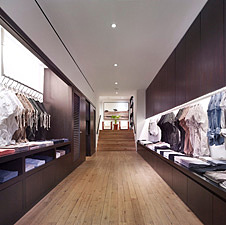 Teak reclaimed wood inside retail store in New York
