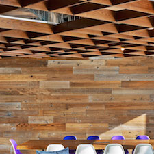 Reclaimed Weathered Redwood paneling inside Jet.com office space